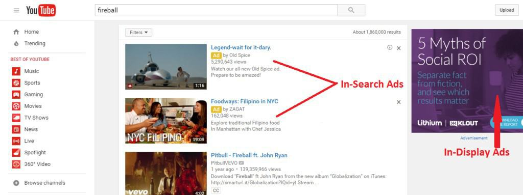 example of in-search & display ads for youtube advertising