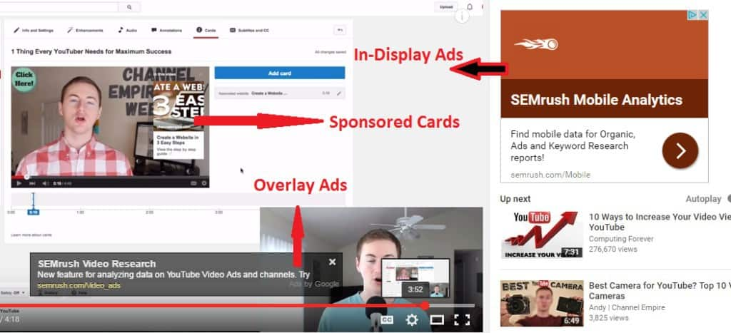 example of sponsored cards for youtube advertising