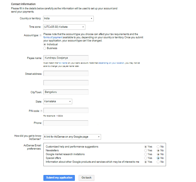adsense account sign up process application form