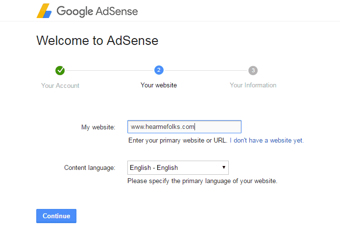 adsense account website details