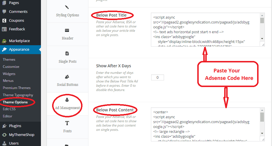 how to add adsense in post content