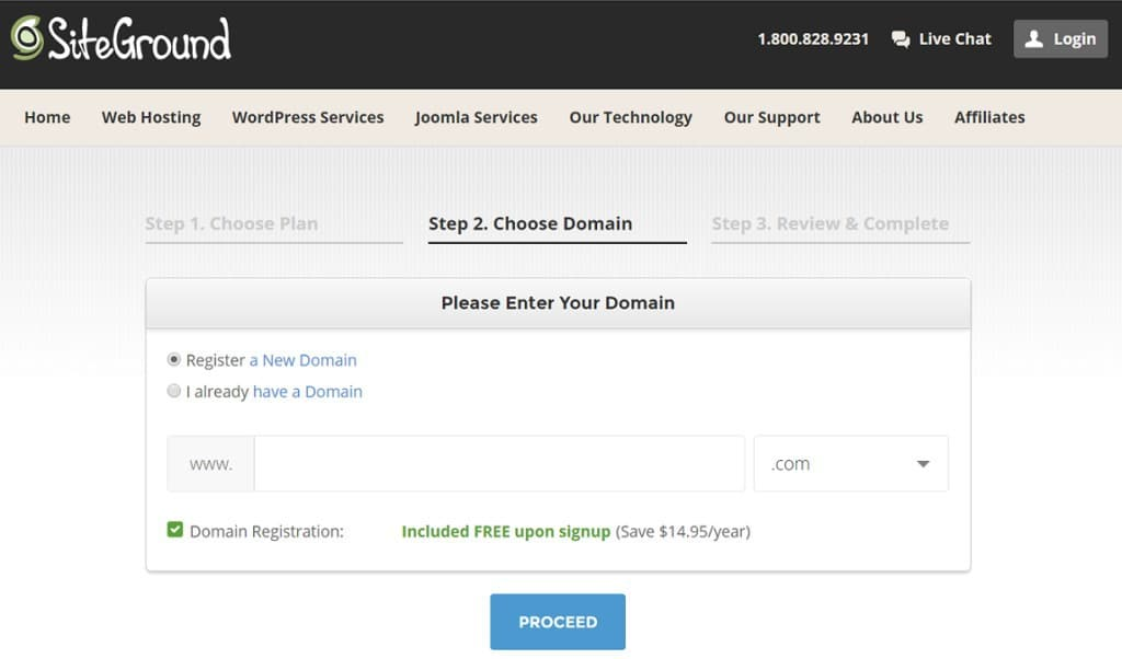 siteground free domain registration to start a blog